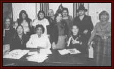 Ohoyo, American Indian Women's Advocacy Organization; Advisory Board Members in 1983 - seated left to right: Ruth Arrington (Creek), Delores Two Hatchet (Comanche), Joy Hanley (Navajo), and Shjrley Hill Witt (Mohawk).  Standing left to right: Ethel Krepps (Kiowa), Rayna Green (Cherokee), Owanah Anderson (Choctaw), Jackie Delahunt (Sioux), Ada Deer (Menominee), Marjoire Bear Don't Walk (Salish-Chippewa), and Betty Crouse (Seneca).