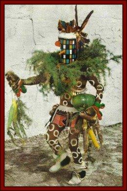 Mixed Kachinas Dance Beside a Zuni Kachina Paintings